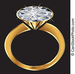 schittering, ring, vector, diamant