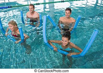 schiuma, aqua, aerobica, idoneità, rulli, classe, felice