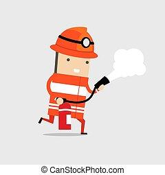 schiuma, extinguisher., fuoco, spruzzare, pompiere
