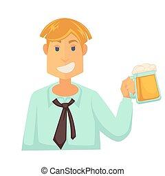 schiuma, isolato, vetro, birra, presa a terra, bianco, uomo