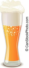 schiuma, luce, isolato, vetro, birra, bianco