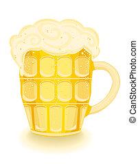 schiumoso, birra fredda, mug.