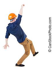 schivata, lavoratore, giovane, equilibratura, constructi, cadere, o, man., man/