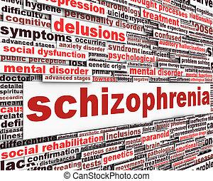 schizophrénie, concept, message