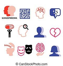 Schizophrenia, mental health, psychology vector icons set