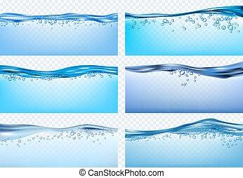 schizzi, fresco, vettore, waves., realistico, onde, liquido...
