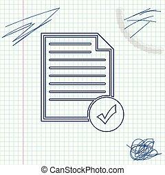 schizzo, affari, assegno, lista, concept., linea, isolato, illustrazione, marchio, fondo., vettore, bianco, documento, icon., icona