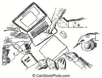 schizzo, affari, cima, stretta di mano, disegnato, riunione, vista
