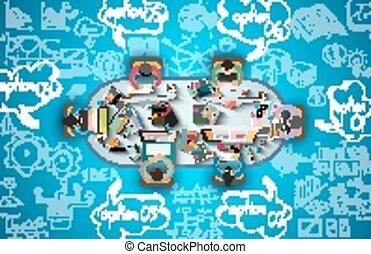 schizzo, affari, lavoro squadra, fondo, infographics, doodles