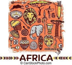 schizzo, africa, illustrazione