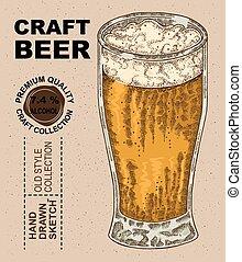 schizzo, alcool, beer., bevanda, illustrazione, mano, vetro, vettore, disegnato