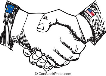 schizzo, alleanza, affari, fra, due, countries., mano, vettore, illustrazione, scuotere, colleghi.