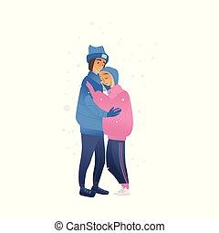 schizzo, amanti, inverno, camminare, abbracciare, vettore