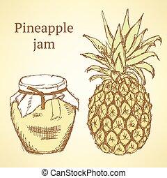 schizzo, ananas, e, vaso, in, vendemmia, stile