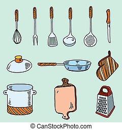 schizzo, appetit., scarabocchiare, cottura, mano, utensili, bon, disegnato, cucina