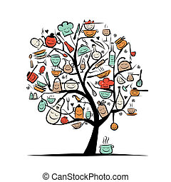 schizzo, arte, albero, utensili, disegno, disegno, tuo, cucina