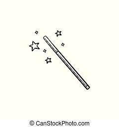 schizzo, bacchetta magica, mano, disegnato, icon.