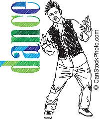schizzo, ballo, giovane, illustrazione, hip-hop., vettore, uomo