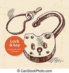 schizzo, banner., serratura, mano, chiave, vendemmia,...