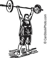 schizzo, barbells., sovrappeso, illustrazione, vettore, uomo