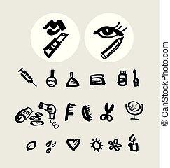 schizzo, bellezza, icone, set., stile, makeup., mano, simboli, femminile, vettore, illustrazione, disegnato