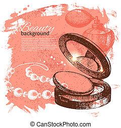 schizzo, bellezza, vendemmia, cosmetico, illustrazione, mano, fondo., vettore, accessori, disegnato