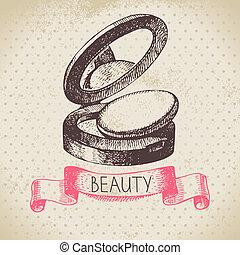 schizzo, bellezza, vendemmia, cosmetico, illustrazione, mano...