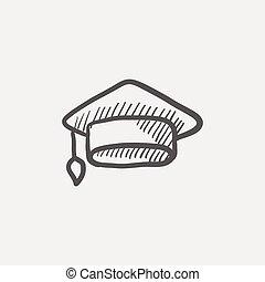 schizzo, berretto, graduazione, icona