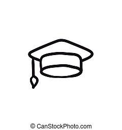 schizzo, berretto, icon., graduazione