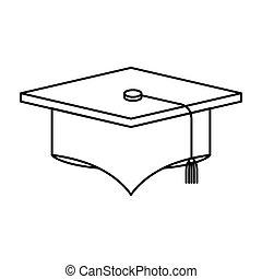 schizzo, berretto, silhouette, immagine, graduazione