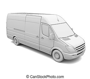 schizzo, bianco, furgone