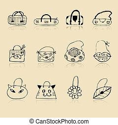 schizzo, borse, collezione, tuo, disegno, disegno