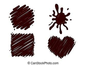 schizzo, caldo, bianco, set, cioccolato, isolato