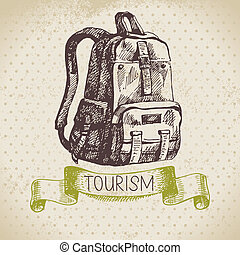 schizzo, campeggio, escursione, illustrazione, mano, fondo., vendemmia, disegnato, turismo