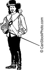 schizzo, cappello, musketeers, spada