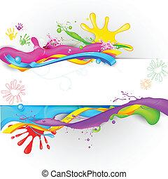 schizzo, carta da parati, colorito, holi