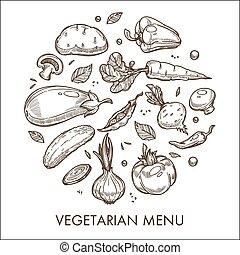 schizzo, cibo organico, menu, vegetariano, verdura, raccogliere