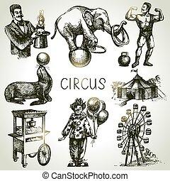 schizzo, circo, mano, vettore, illustrazioni, disegnato, ...