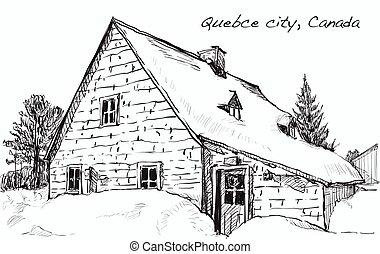 schizzo, cityscape, di, quebec, canada, mostra, albero, neve, e, case, lungo, il, strada, libero, mano, disegnare, illustrazione, vettore