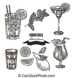 schizzo, cocktail, set., illustrazione, mano, vettore, disegnato