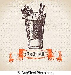 schizzo, cocktail, vendemmia, mano, fondo, disegnato