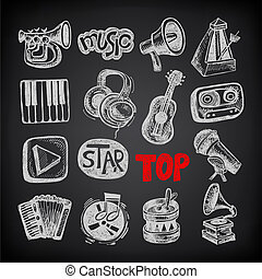 schizzo, collezione, elemento, sfondo nero, musica, icona