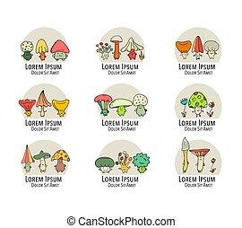 schizzo, collezione, funghi, disegno, sorridente, tuo