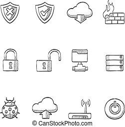 schizzo, computer, -, rete, icone