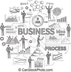 schizzo, concetto, affari