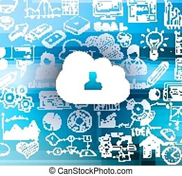 schizzo, concetto, calcolare, set, infographics, nuvola