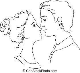 schizzo, coppia, amare