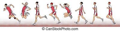 schizzo, corsa, atleta, sportivo, mano, salto, collezione, disegnato, passeggiata, cartone animato