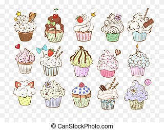schizzo, cupcakes, coloreddoodle, illustration., vettore, decorations., set