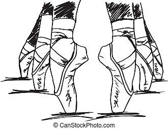 schizzo, dancer's, balletto, illustrazione, vettore, feet.